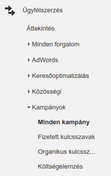 Google Analytics Minden kampány menüpont