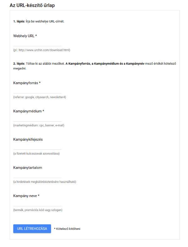 Google URL-készítő űrlap