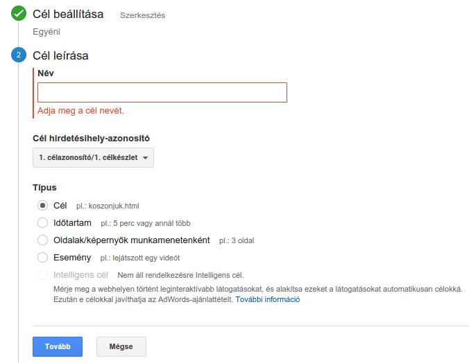 Google Analytics konverziós cél beállítása